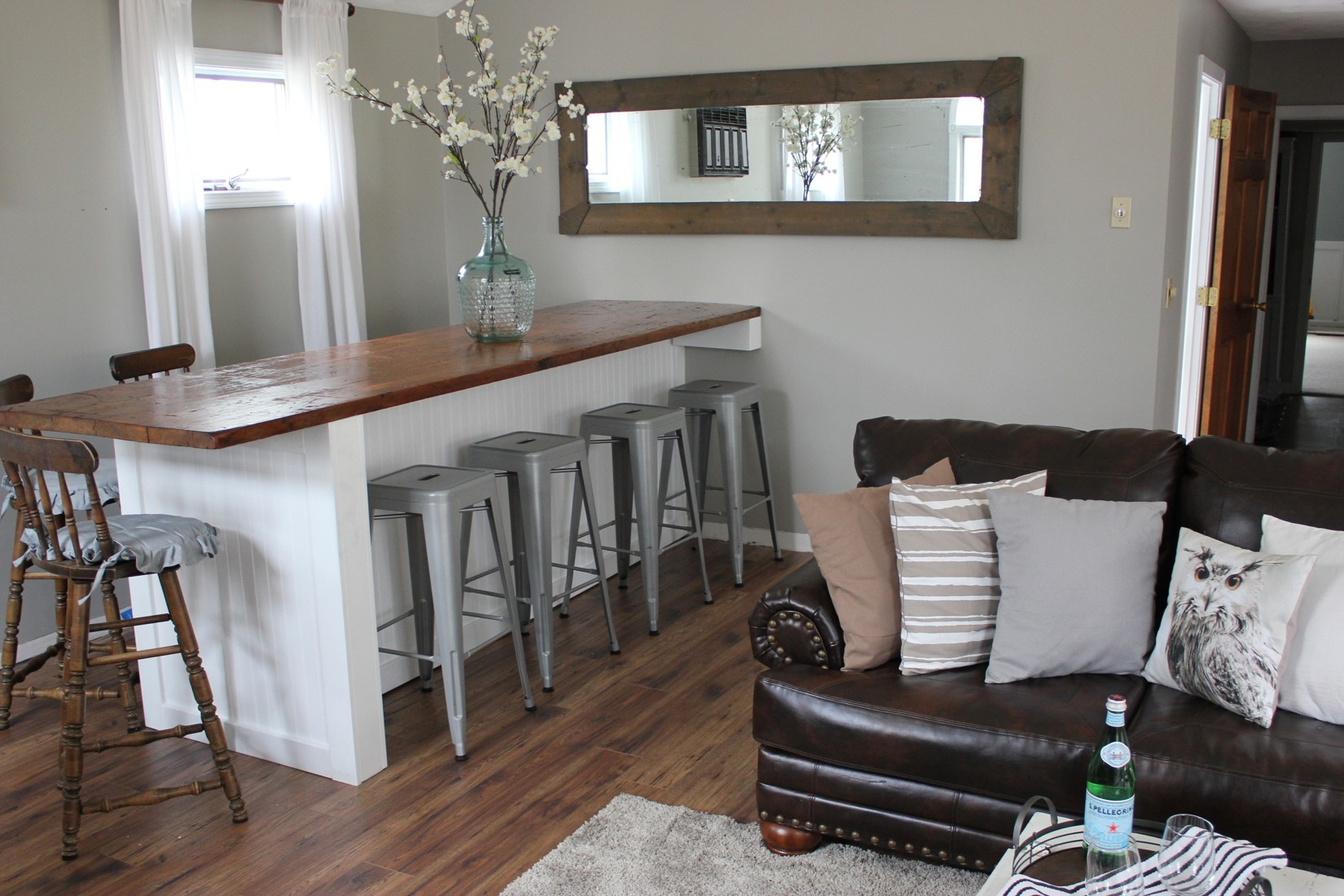 Kitchen island with stools on both sides - I Found The Metal Bar Stools On Amazon For An Amazing Deal And The Swivel Wood Stools Were A Find By The Side Of The Road