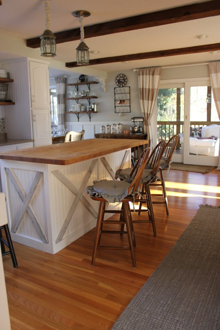 adding texture to the kitchen island back to blueberry hill